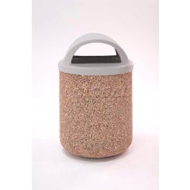 """Concrete Waste Receptacle W/Red Plastic Dome Top Lid, 26"""" Dia x 44"""" Gray/Tan"""