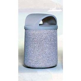 "Concrete Waste Receptacle W/Blue Plastic Push Door Top - 26"" Dia x 44"" Gray/Tan"