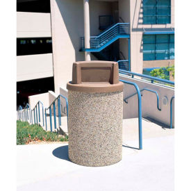 "Concrete Waste Receptacle W/Brown Plastic Push Door Top - 26"" Dia x 44"" Gray/Tan"