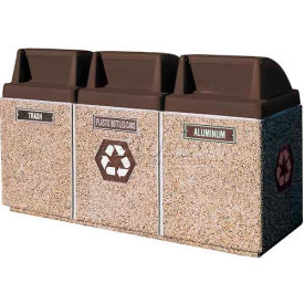 "Concrete 3-Bin Recycle Unit W/Brown Push Door Lid, 75"" X 25"" X 47"" Gray/Tan, Trash/Plastic/Aluminum"