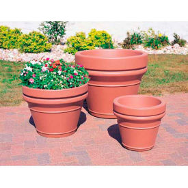Wausau TF4041 Round Outdoor Planter - Smooth Stained Red 28x22