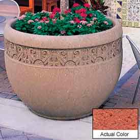 Wausau TF4229 Round Outdoor Planter - Weatherstone Brick Red 48x35