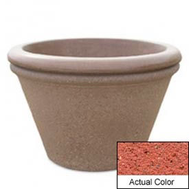Wausau TF4307 Round Outdoor Planter - Weatherstone Brick Red 30x20