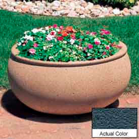 Wausau TF4340 Oval Outdoor Planter - Weatherstone Charcoal 36x30x18