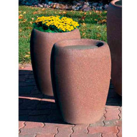 Wausau TF4350 Round Outdoor Planter - Smooth Stained Light Charcoal 18-1/2x25