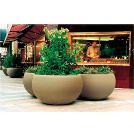 Wausau TF4353 Round Outdoor Planter - Smooth Stained Brick Red 42x24