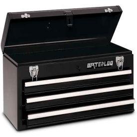 Waterloo MP-2012BK Metal Portable 3-Drawer Portable Chest - Black