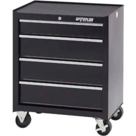 "Waterloo SCA-264BK-B Shop Series 26-1/2""W X 18""D X 32""H 4 Drawer Black Roller Cabinet"