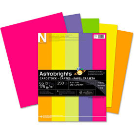 "Neenah Paper Astrobrights Card Stock Paper, 8-1/2"" x 11"", Assorted Neon, 250 Sheets/Pack by"