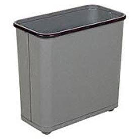 "Rectangular Wastebasket, Gray, 30 Quart, 17""W X 15""H X 8""D - Pkg Qty 3"