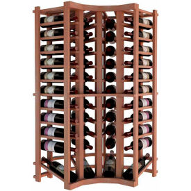 Individual Bottle Wine Rack - Curved Corner W/Lower Display, 4 ft high - Unstained All-Heart Redwood