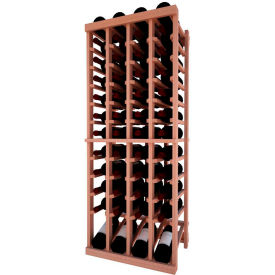 Individual Bottle Wine Rack - 4 Column W/Lower Display, 4 ft high - Unstained All-Heart Redwood