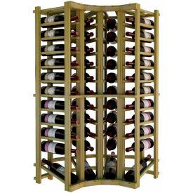 Individual Bottle Wine Rack - Curved Corner W/Lower Display, 4 ft high - Walnut, Pine