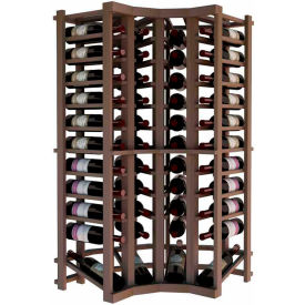 Individual Bottle Wine Rack - Curved Corner W/Lower Display, 4 ft high - Walnut, Mahogany