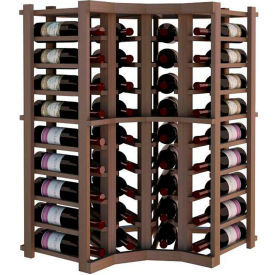 Individual Bottle Wine Rack - Curved Corner, 4 ft high - Unstained Mahogany