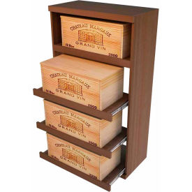 Bulk Storage, Pull Out Wine Bottle Cradle, 4-Drawer 4 Ft high - Unstained Mahogany