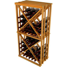 Diamond Cube Wine Rack - 1 Column, 4 ft high - Mahogany, Redwood