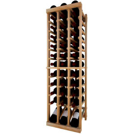 Individual Bottle Wine Rack - 3 Column W/Lower Display, 4 ft high - Light, Redwood