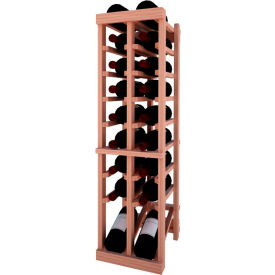 Individual Bottle Wine Rack - 2 Column W/Lower Display, 3 ft high - Mahogany, All-Heart Redwood