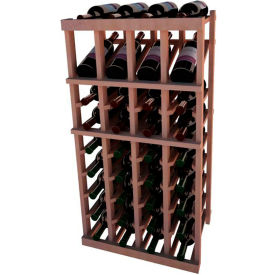 Individual Bottle Wine Rack - 4 Column W/Top Display, 3 ft high - Unstained All-Heart Redwood