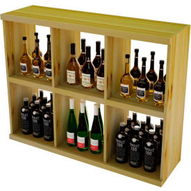 Bulk Storage, Stackable Wine Bottle Shelf, 6-Opening 3 Ft high - Mahogany, Pine
