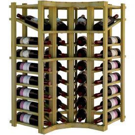 Individual Bottle Wine Rack - Curved Corner W/Top Display, 3 ft high - Black, Pine