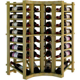 Individual Bottle Wine Rack - Curved Corner W/Lower Display, 3 ft high - Black, Pine