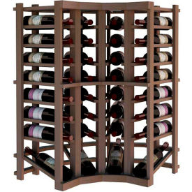 Individual Bottle Wine Rack - Curved Corner W/Lower Display, 3 ft high - Unstained Mahogany