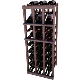 Individual Bottle Wine Rack - 3 Column W/Top Display, 3 ft high - Unstained Mahogany