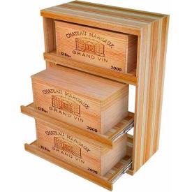 Bulk Storage, Pull Out Wine Bottle Cradle, 3-Drawer 3 Ft high - Black, Redwood