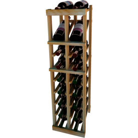 Individual Bottle Wine Rack - 2 Column W/Top Display, 3 ft high - Unstained Redwood