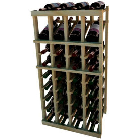 Individual Bottle Wine Rack - 4 Column W/Top Display, 3 ft high - Unstained Redwood