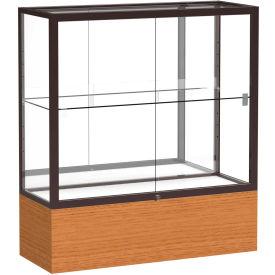 "Reliant Counter Case, Mirror Back, Dark Bronze Frame, Carmel Oak Base, 36""L x 40""H x 14""D"