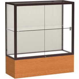 """Reliant Counter Case, Plaque Back, Dark Bronze Frame, Carmel Oak Base, 36""""L x 40""""H x 14""""D"""