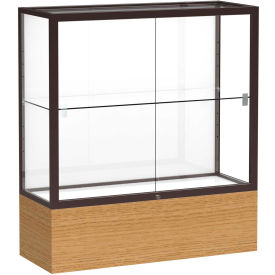 "Reliant Counter Case, White Back, Dark Bronze Frame, Autumn Oak Base, 36""L x 40""H x 14""D"