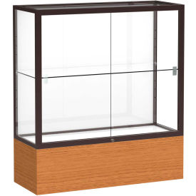 "Reliant Counter Case, White Back, Dark Bronze Frame, Carmel Oak Base, 36""L x 40""H x 14""D"