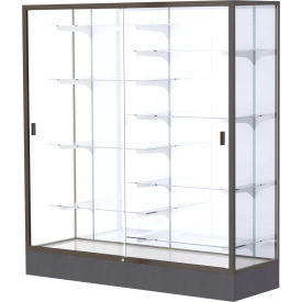 "Colossus Floor Case, White Back, Dark Bronze Frame, 60""L x 66""H x 20""D"