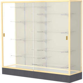 "Colossus Floor Case, Plaque Back, Champagne Gold Frame, 72""L x 66""H x 20""D"