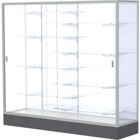 """Colossus Floor Case, White Back, Satin Frame, 72""""L x 66""""H x 20""""D"""