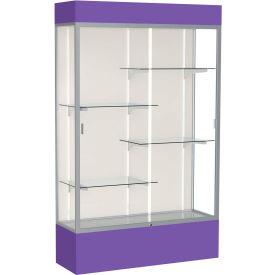 "Spirit Lighted Display Case 48""W x 80""H x 16""D Plaque Back Satin Finish Purple Base & Top"