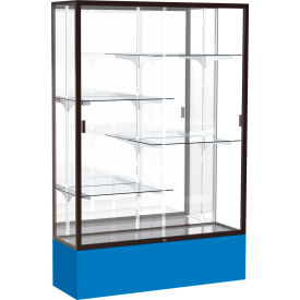 "Spirit Display Case Royal Blue Base, Bronze Frame, Mirror Back 48""W x 16""D x 72""H"