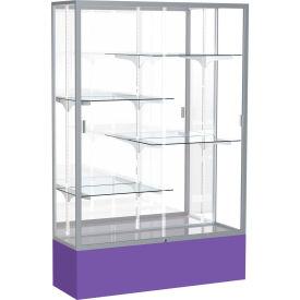 "Spirit Display Case Purple Base, Satin Frame, Mirror Back 48""W x 16""D x 72""H"