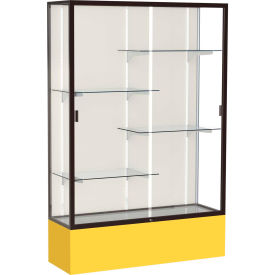 "Spirit Display Case Golden Rod Base, Bronze Frame, Fabric Back 48""W x 16""D x 72""H"