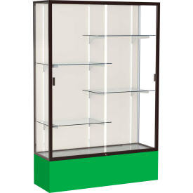 "Spirit Display Case Kelly Green Base, Bronze Frame, Fabric Back 48""W x 16""D x 72""H"