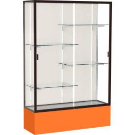 "Spirit Display Case Orange Base, Bronze Frame, Fabric Back 48""W x 16""D x 72""H"