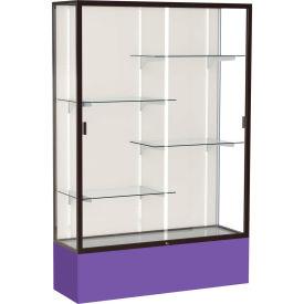 "Spirit Display Case Purple Base, Bronze Frame, Fabric Back 48""W x 16""D x 72""H"