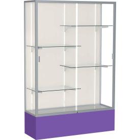 "Spirit Display Case Purple Base, Satin Frame, Fabric Back 48""W x 16""D x 72""H"