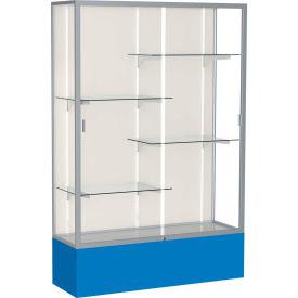 "Spirit Display Case Royal Blue Base, Satin Frame, Fabric Back 48""W x 16""D x 72""H"