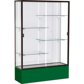 "Spirit Display Case Forest Green Base, Bronze Frame, White Back 48""W x 16""D x 72""H"