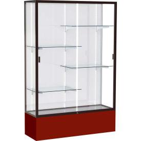 "Spirit Display Case Maroon Base, Bronze Frame, White Back 48""W x 16""D x 72""H"